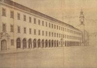 Skizze zum Wiederaufbau der Servitenkirche